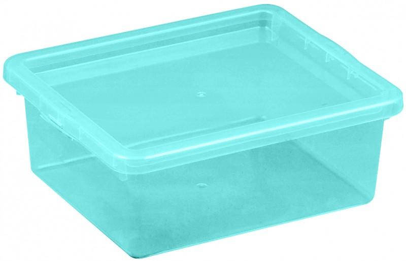 Cutie depozitare cu capac, capacitate 1.5 litri, dimensiuni: 205x170x74 mm albastru deschis