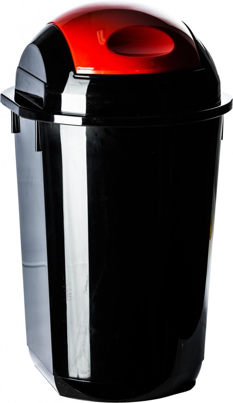 Cos gunoi rotund cu capac batant 40 litri negru