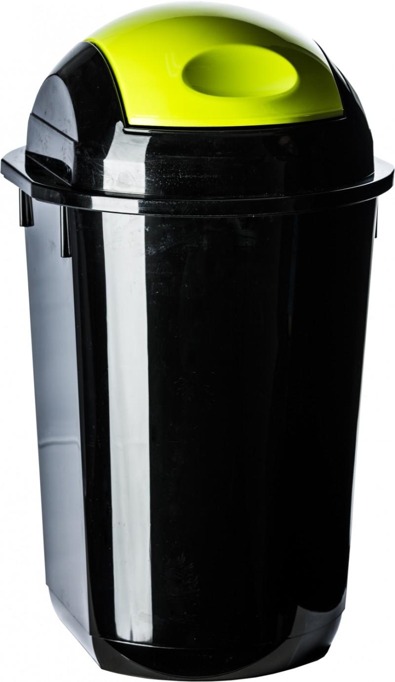 Cos gunoi rotund cu capac batant 40 litri negru cu verde