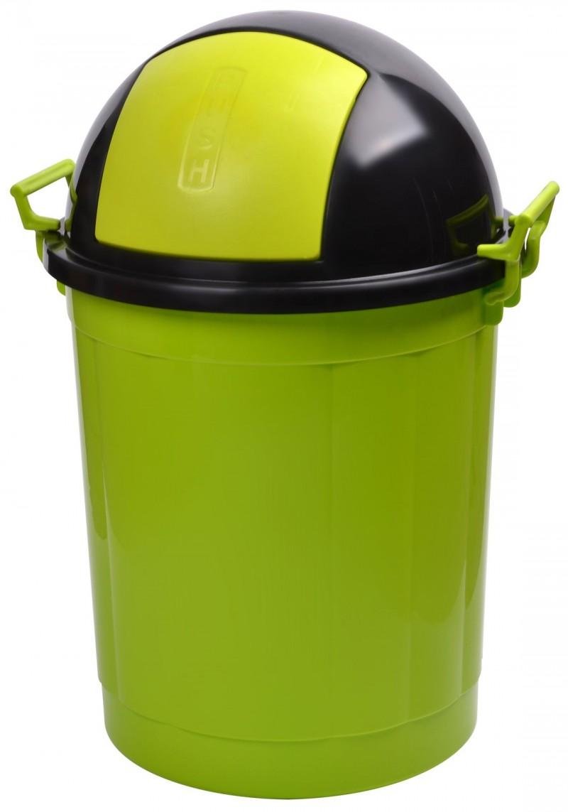 Cos gunoi rotund cu manere 50 litri verde
