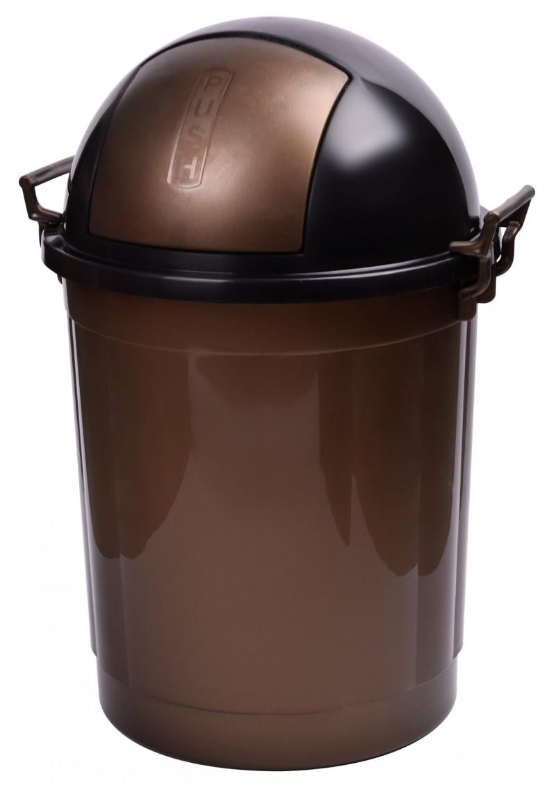 Cos gunoi rotund cu manere 50 litri maro