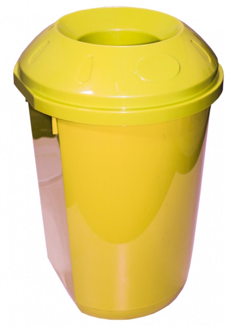 Cos gunoi colectare selectiva 40 litri rotund galben