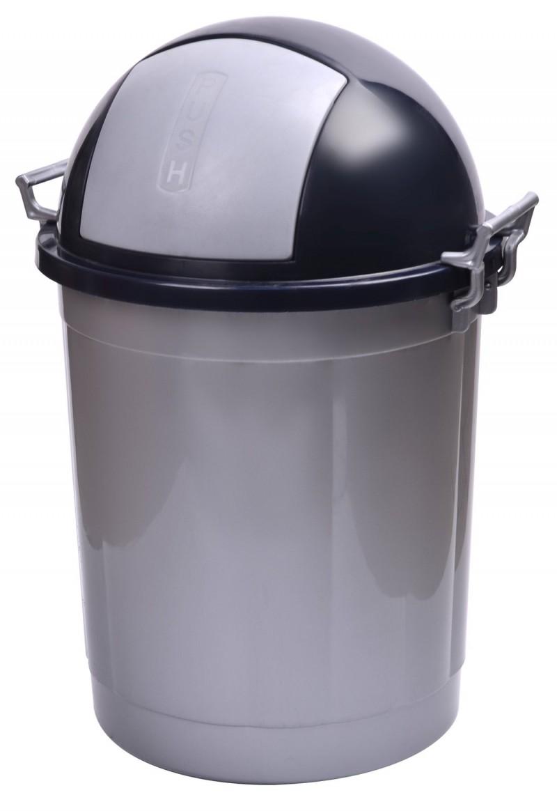 Cos gunoi rotund cu manere 50 litri argintiu