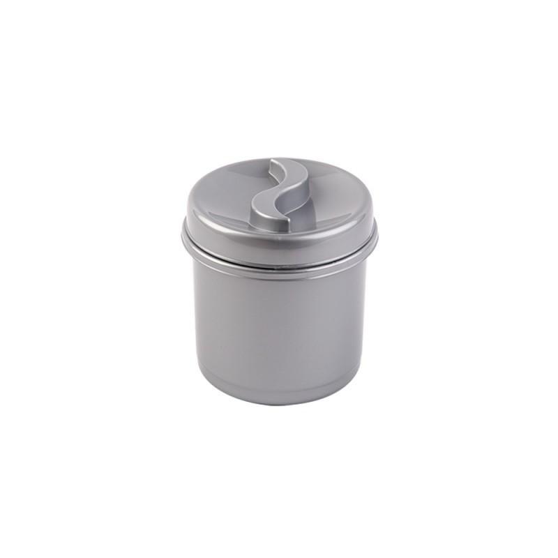 Cutie condimente rotunda 8 cm argintiu