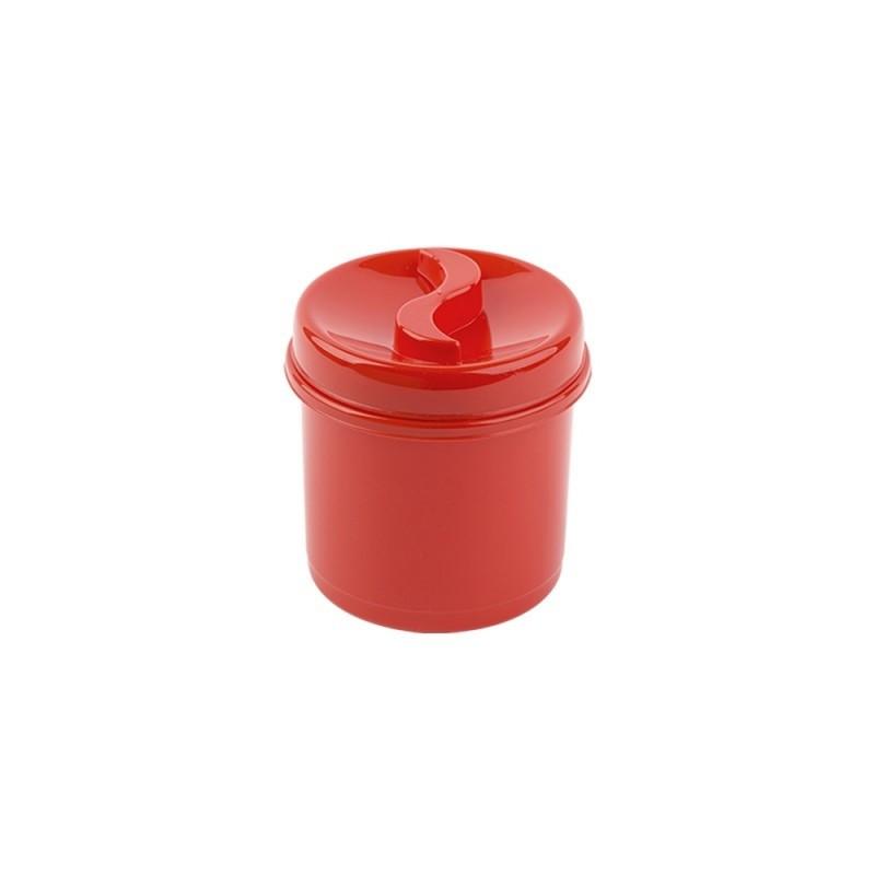 Cutie condimente rotunda 8 cm rosu