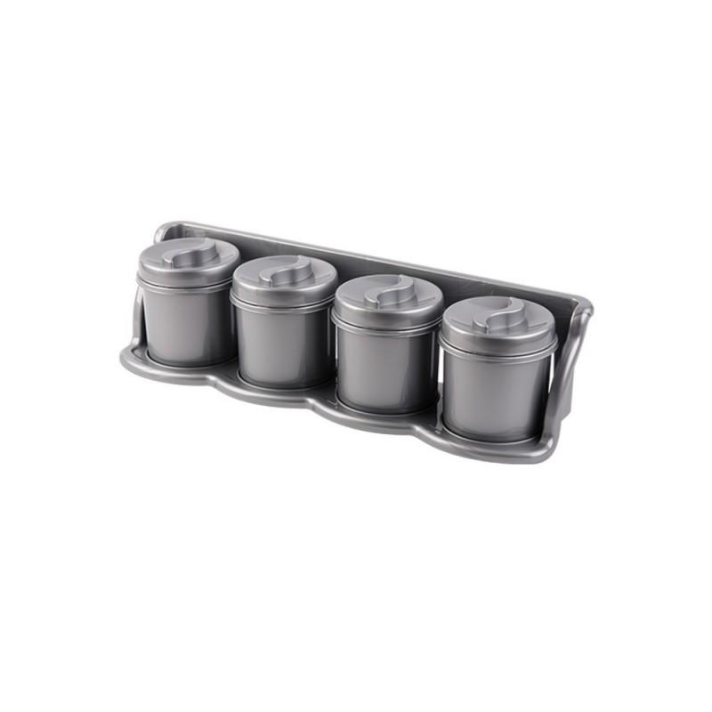 Set 4 cutii condimente cu suport 47x13x11 argintiu