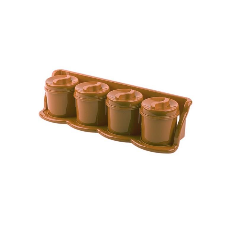 Set 4 cutii condimente cu suport 47x13x11 maro