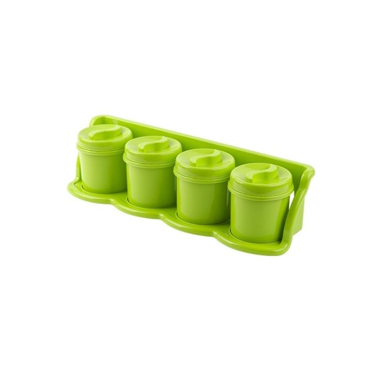 Set 4 cutii condimente cu suport 47x13x11 verde