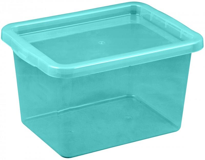 Cutie depozitare cu capac, capacitate 13 litri, dimensiuni 380x285x215.5 mm albastru deschis