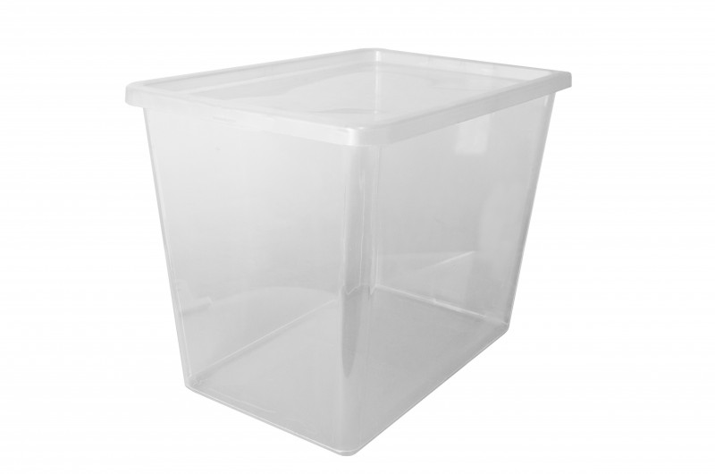 Cutie depozitare cu capac 80 l transparenta