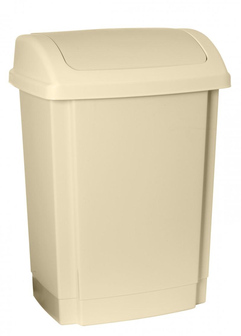 Cos gunoi din plastic cu capac batant Swing 25 litri bej