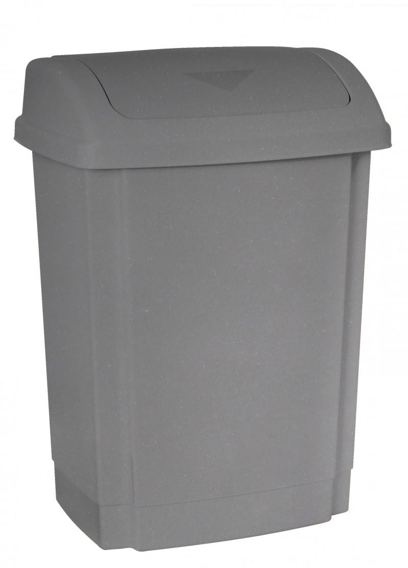 Cos gunoi din plastic cu capac batant Swing 25 litri gri