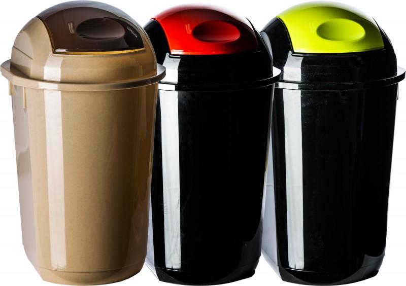 Cos gunoi rotund cu capac batant 40 litri din plastic