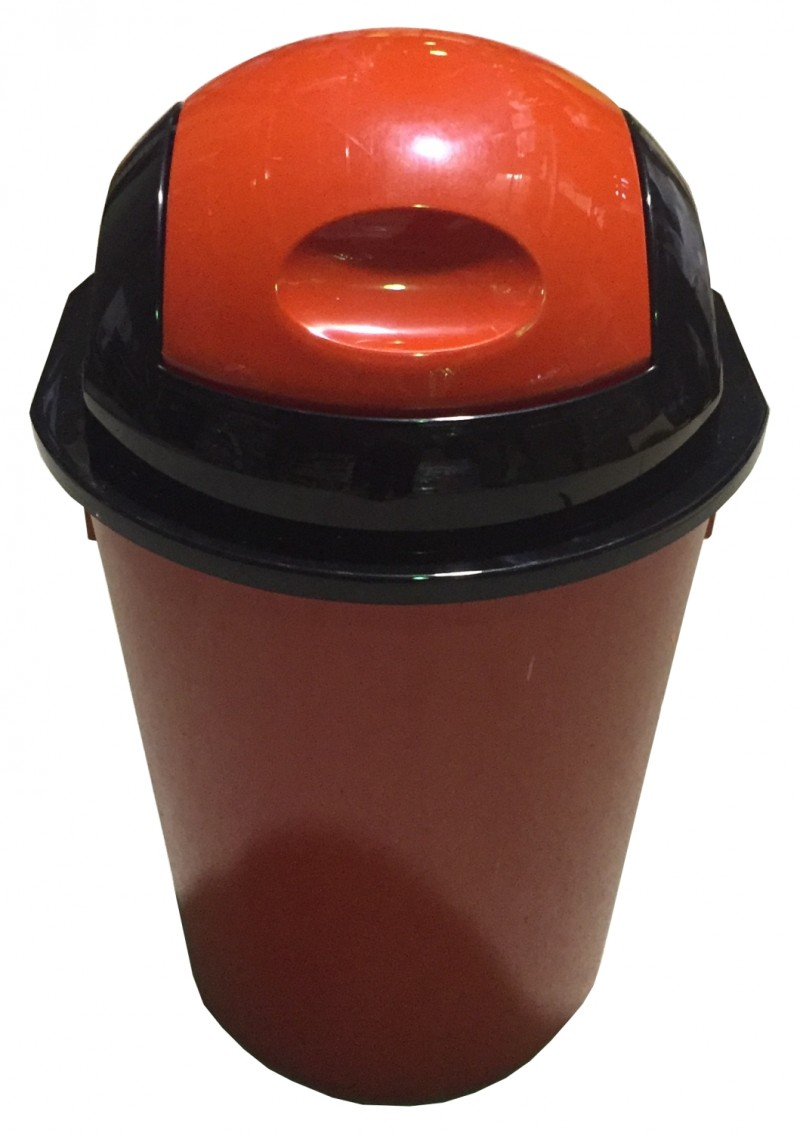 Cos gunoi rotund cu capac batant 40 litri rosu
