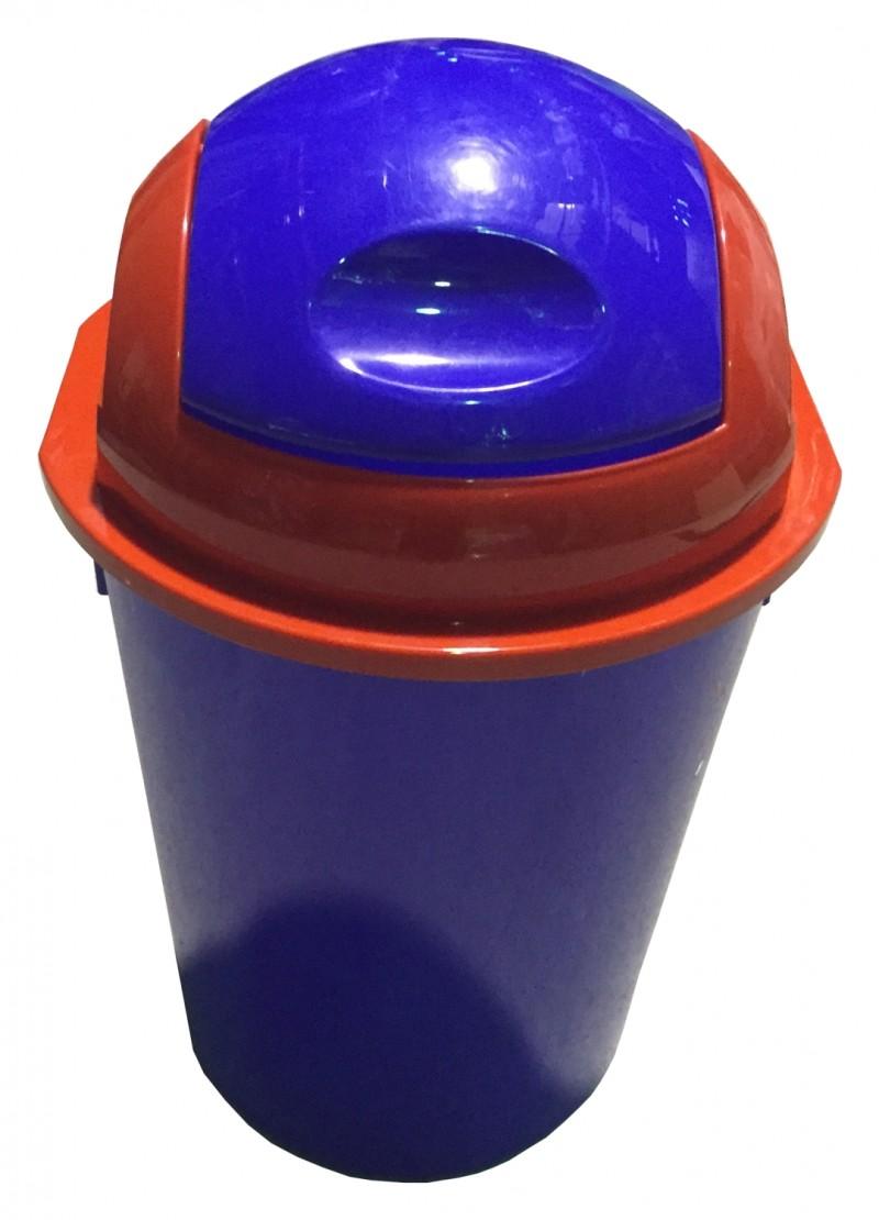 Cos gunoi rotund cu capac batant 40 litri albastru