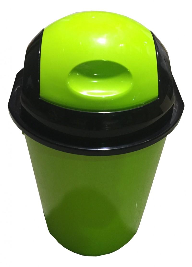 Cos gunoi rotund cu capac batant 40 litri verde