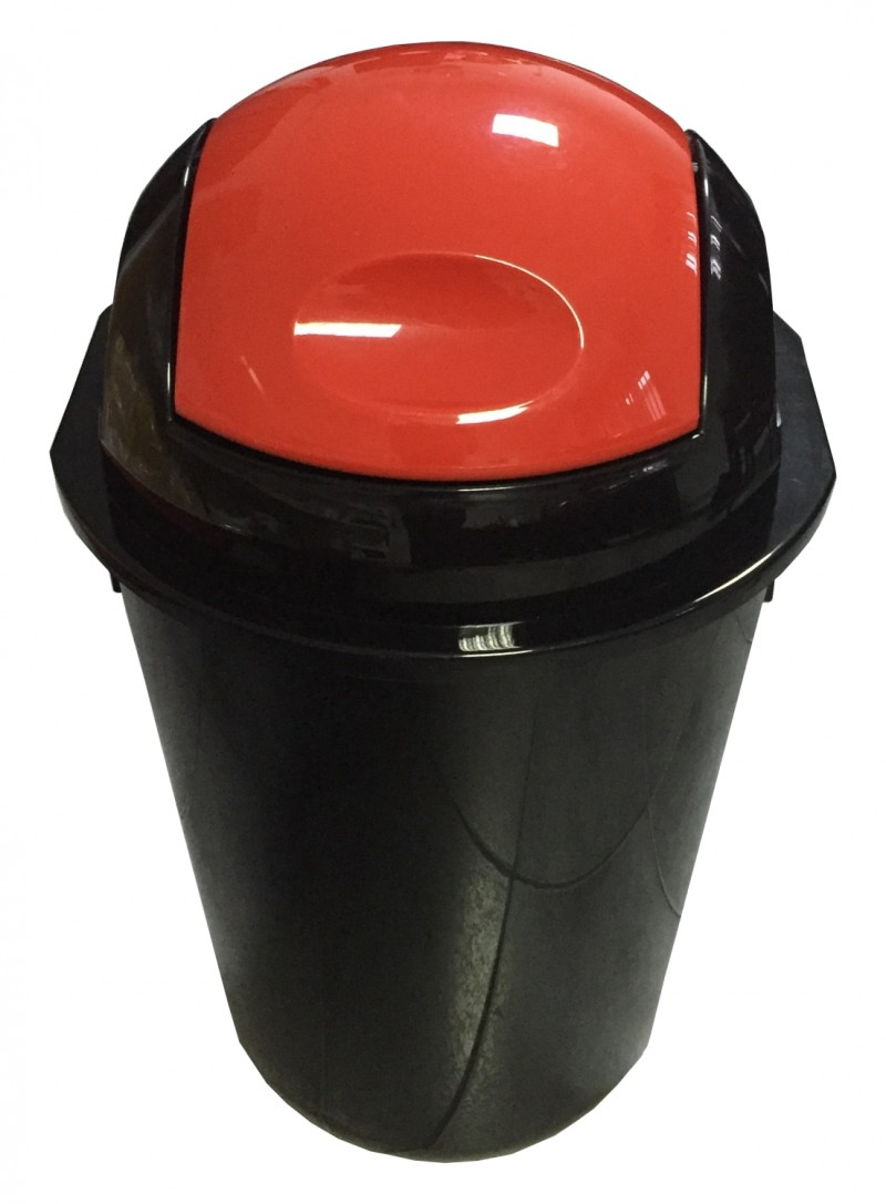 Cos gunoi rotund cu capac batant 40 litri negru cu capac rosu