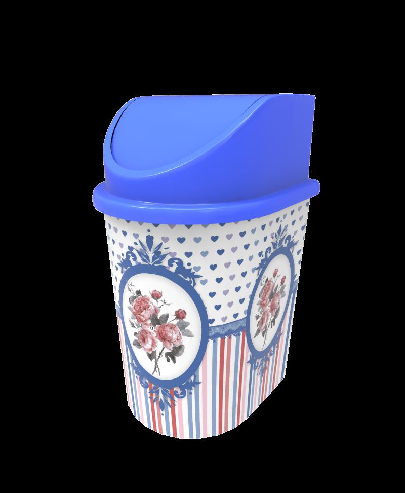 Cos gunoi cu capac decorat 5.5 litri model albastru