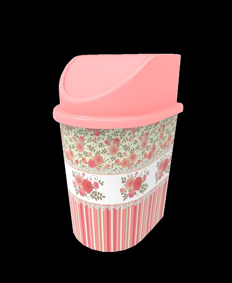 Cos gunoi cu capac decorat 5.5 litri model roz