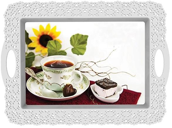 Tava decorata 44.5x33x2.5 cm set cafea