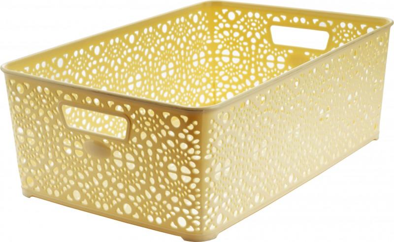 Cosulet depozitare si organizare Monaco, model dantelat, dimensiuni 36x27x6 cm