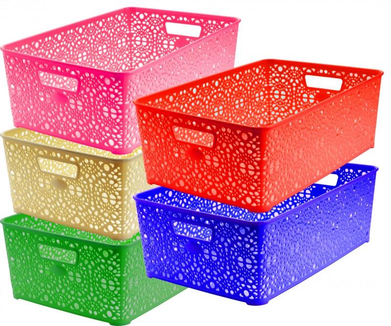 Cosulet depozitare si organizare Monaco, model dantelat, dimensiuni 39x27x14 cm diferite culori la comanda