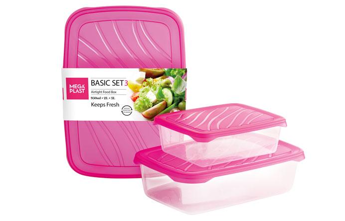 Set 3 cutii alimente dreptunghiulare 0.95/2/3 litri