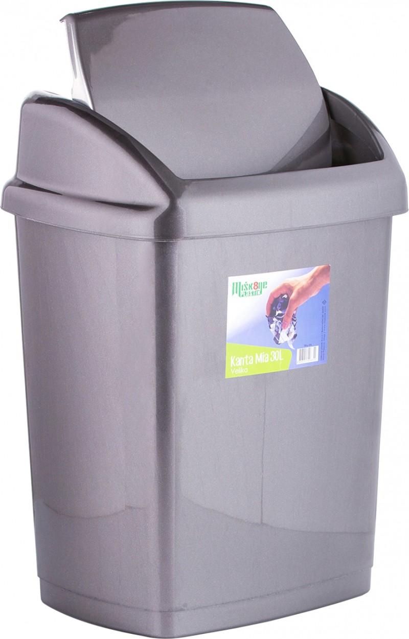 Cos gunoi cu capac batant 18 litri argintiu