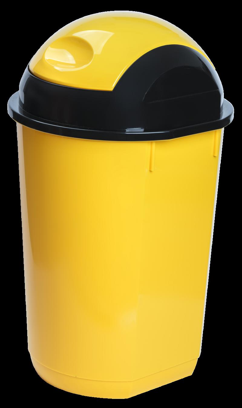 Cos gunoi rotund cu capac batant 40 litri galben