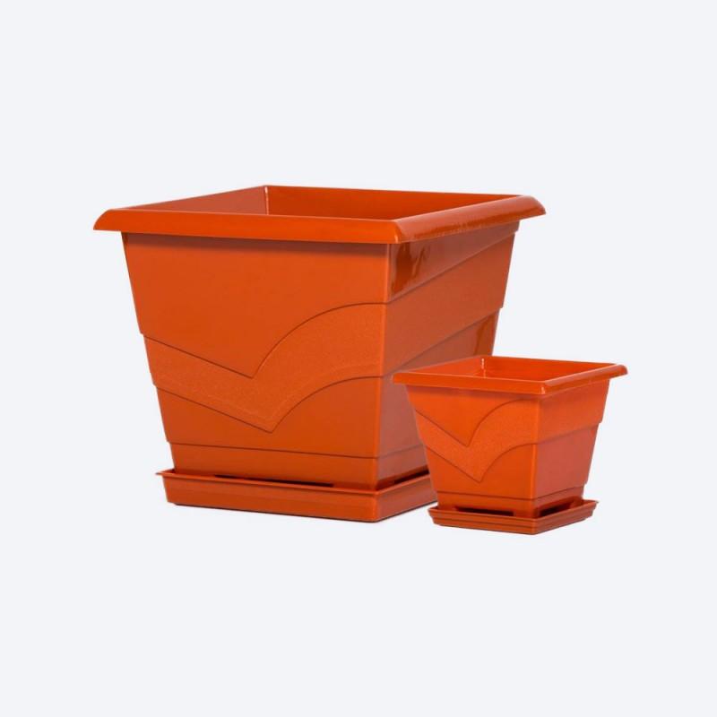 Ghiveci patrat cu farfurie 15x15 cm, h13 cm, 1.2 litri terracota