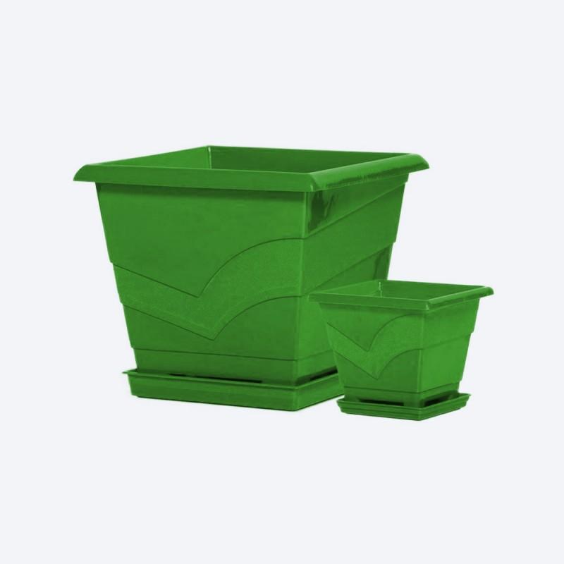 Ghiveci patrat cu farfurie 20x20 cm, h18 cm, 3 litri verde