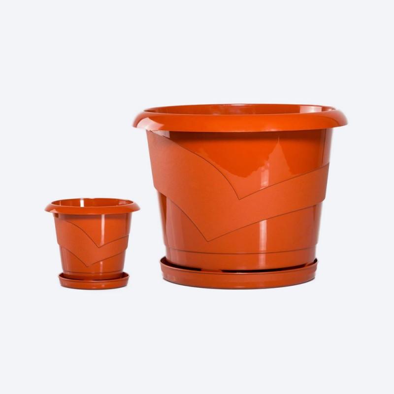 Ghiveci rotund cu farfurie diam. 14cm,h13cm, 1 litru, terracota