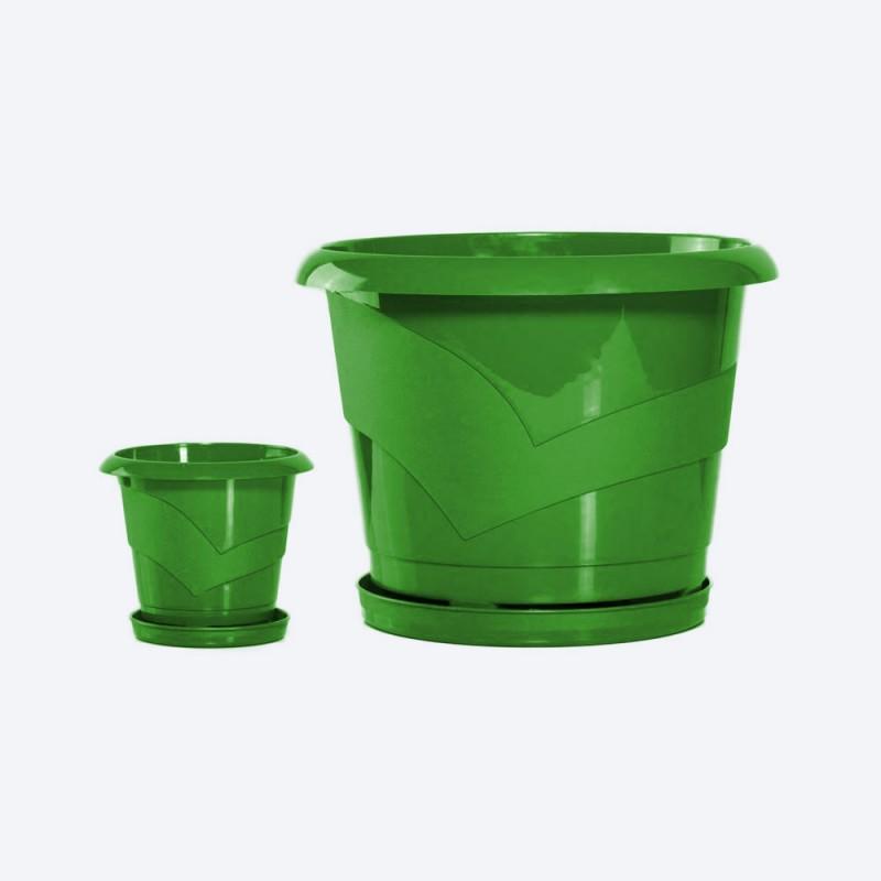 Ghiveci rotund cu farfurie diam. 14cm,h13cm, 1 litru verde