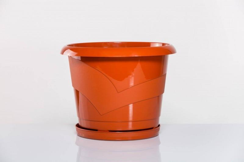 Ghiveci rotund cu farfurie diam. 14cm,h13cm, 1 litru terracota