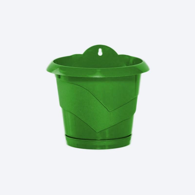 Ghiveci de perete cu agatatoare diametru 17 cm verde