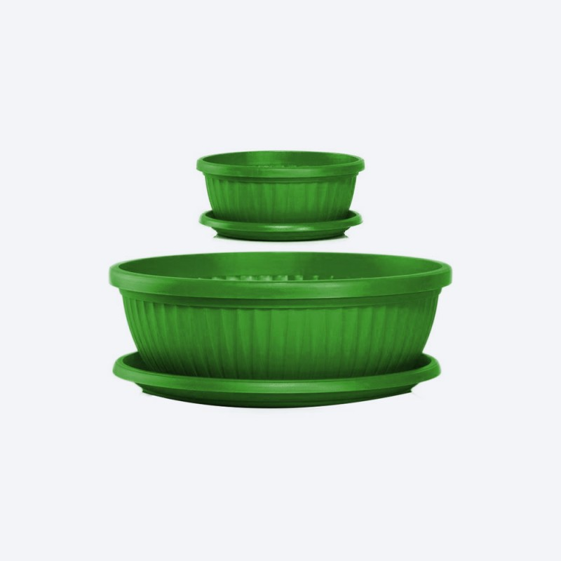 Ghiveci rotund cu farfurie diametru 20 cm, inaltime 8.8cm, volum 1.2 litri verde