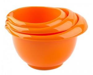 poza Set 3 boluri mixer 1.7+2.5+3.2 l cu garnitura anti-alunecare portocalii