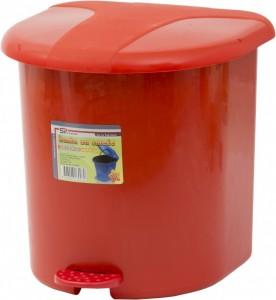 Poza Cos gunoi plastic cu pedala si galeata interioara rosu 15 litri