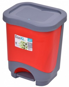 Poza Cos de gunoi EKO XL 24 l cu galeata si maner rosu