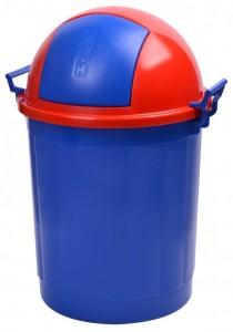 Poza Cos gunoi rotund cu manere 50 litri albastru
