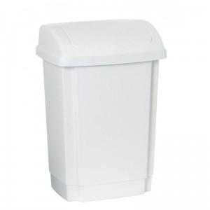poza Cos gunoi plastic cu capac batant Swing 15 litri alb