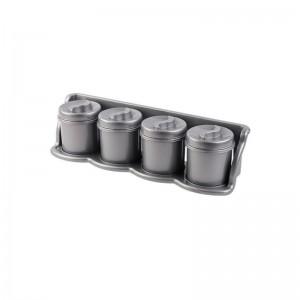 Poza Set 4 cutii condimente cu suport 47x13x11 argintiu