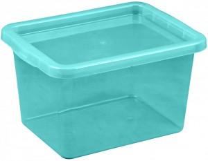 Poza Cutie depozitare cu capac, capacitate 13 litri, dimensiuni 380x285x215.5 mm albastru deschis