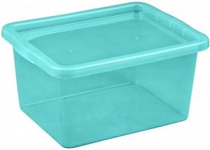 Poza Cutie depozitare cu capac, capacitate 18 litri, dimensiuni 430x330x213.5 mm albastru deschis
