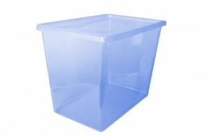 Poza Cutie depozitare cu capac 80 litri albastru inchis