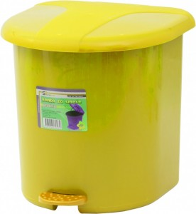 Poza Cos gunoi plastic cu pedala si galeata interioara galben