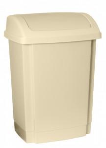 Poza Cos gunoi din plastic cu capac batant Swing 25 litri bej