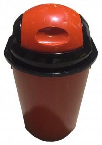 Poza Cos gunoi rotund cu capac batant 40 litri rosu