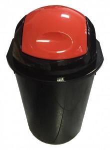 Poza Cos gunoi rotund cu capac batant 40 litri negru cu capac rosu