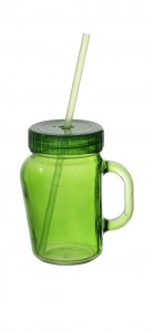 Poza Cana cu capac si pai 450 ml color model bombat verde